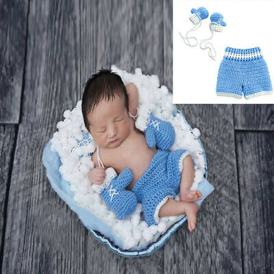 Newborn Photography Props Baby Crochet Knit Boxing Outfits Sets Clothes Rompers