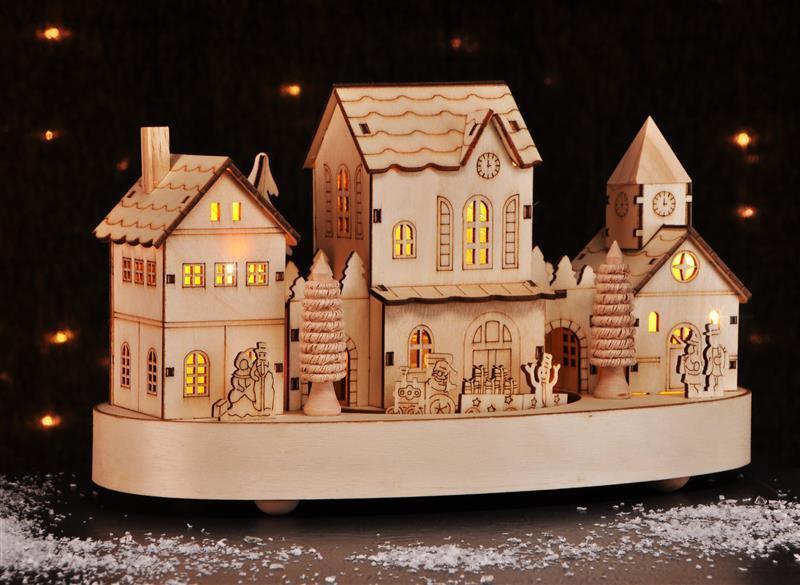 4 Beleuchtete LED Weihnachtshäuser Winterdorf Weihnachtsdorf Winterhaus Neu OVP