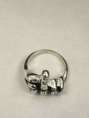 Men/'s Middle Finger Solid 925 Sterling Silver Motocycle Fun Ring Punk FU Gothic