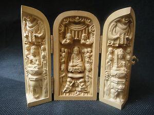 Old Hand Boxwood Carve Buddha Many sons Exorcise Exorcise Extensible Box Statue