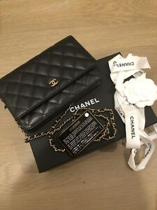633cc9ec46ee NIB CHANEL Quilted WOC Mini FLAP BAG CLASSIC WALLET ON CHAIN Black ...