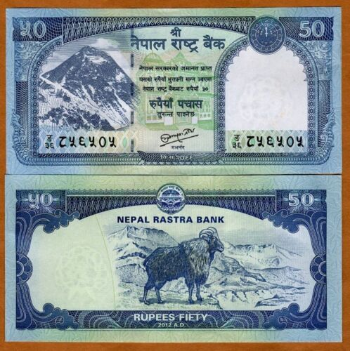 P-New Goat 2012 50 Rupees UNC Everest 2013 Nepal