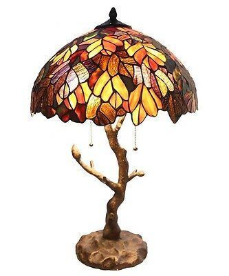 "River of Goods 24.5""  Stained Glass Marvel Maple Table Lamp with Tree Trunk Base"