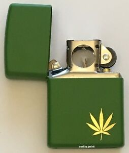 zippo engraved gold marijuana leaf lighter with pipe insert 29588