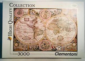 PUZZEL-PUZZLE-antique-world-map-Clementoni-3000-pcs-as-new