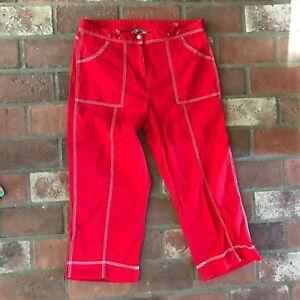 Oleg-Cassini-Women-039-s-Size-Medium-Red-Capri-Pants