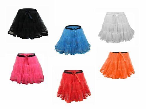 "Girls 2 Layer Neon 18/"" Long Tutu Skirt School Dance Fancy Dress Skirts Age 8-12"