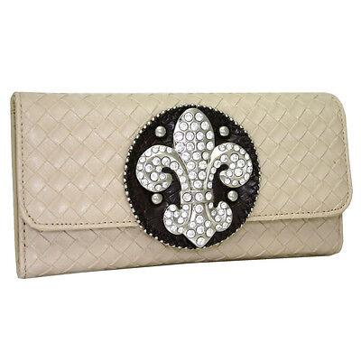 western fleur de lis rhinestone wallet woven accent with checkbook
