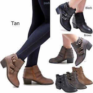 New Women Eury Black Tan Brown Western Ankle Booties Riding Low Heel ... 1b74f01bb7
