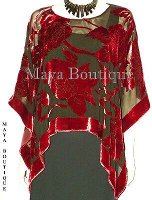 Silk Burnout Velvet Poncho Kimono Top Ruby Red & Black No Fringe Maya Matazaro
