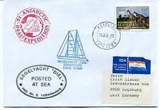1990 SEGELYACHT DIEL departure Cape Town Polar Antarctic Expedition Cover