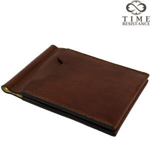 484ef206f804ec MONEY CLIP WALLET BUSINESS CREDIT CARD CASE BROWN ITALIAN LEATHER ...