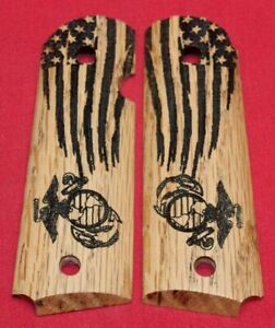 Colt-Firearms-Full-Size-1911-Government-Commander-Marines-USMC-Flag-Grips