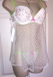 7db4fbb67f Victoria s Secret Sexy Dream Angel Embroidered BabyDoll Panty Set ...