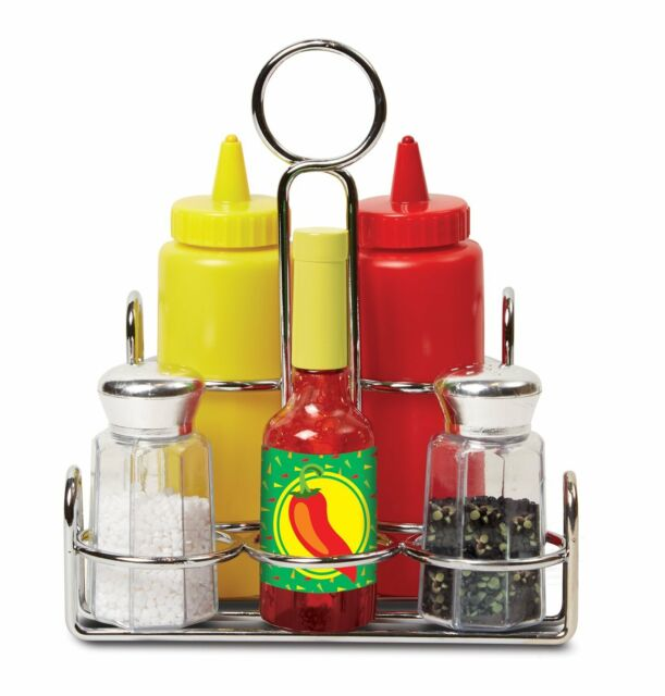 MELISSA & DOUG CONDIMENTS SET (6 PCS) - PLAY FOOD, STAINLESS STEEL CADDY  NEW