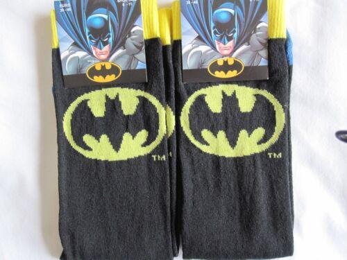 """2 paires /""""DC Comics/"""" Batman Chaussettes Noires-Taille 6-11 BNWT"""