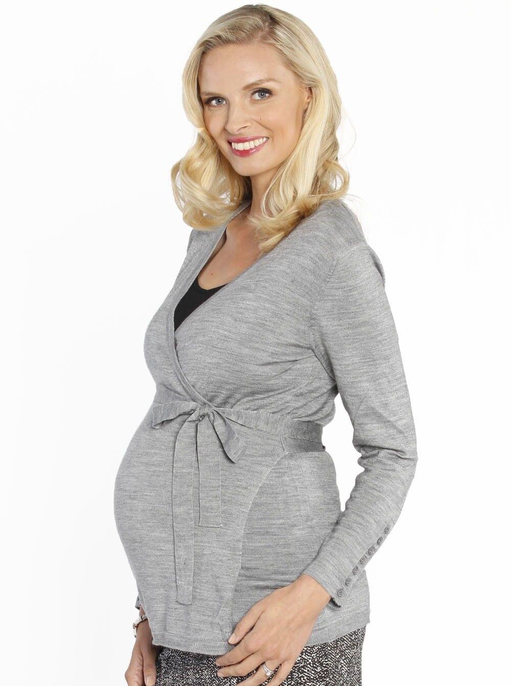Maternity Lightweight Wool Wrap Cardigan with Tie Waist - Grey