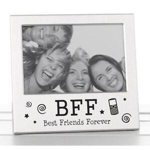 Obligeant Best Friends Forever Bff Cadre Photo Satin Finition Argent Joli Cadeau-afficher Le Titre D'origine