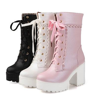 Lolita Womens Lace Up Platform High Block Heels Ankle Sweet Riding Pumps Boots