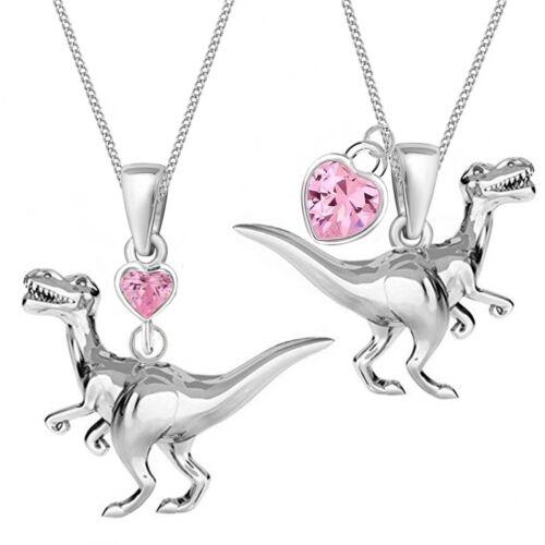 Dinosaurier Rosa Herz Zirkonia ANHÄNGER HALSKETTE 925 Echt Silber Mädchen Damen