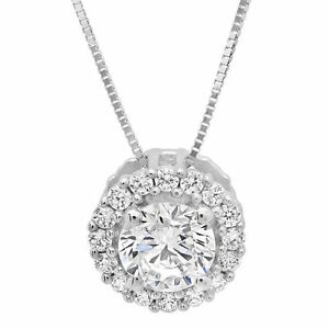 1-50-ct-Round-Solitaire-Halo-Solid-14K-White-Gold-Pendant-Necklace-16-034-Chain