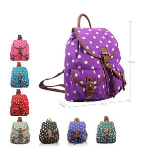 Ladies-Polka-Dot-Spot-Spotty-Canvas-Backpack-Rucksack-School-Shoulder-Bag-Purse