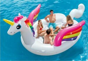 Giant-Unicorn-Party-Island-Pool-Float-Inflatable-Lake-Water-4-Person-Lounge-Big