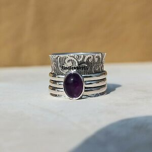 Amethyst-Ring-925-Sterling-Silver-Spinner-Ring-Meditation-Statement-Jewelry-A397