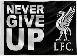 Liverpool Fc Large Never Give Up Black Football Mast Flag Lfc 5ft X 3ft Ebay