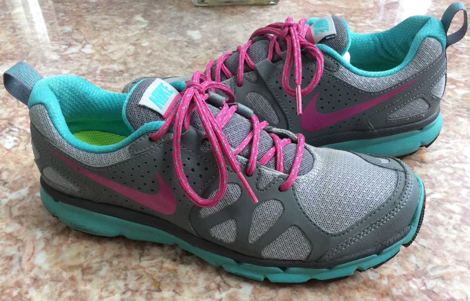 NIke Flex Trail Women's Gray Turquoise Shoes Size 7.5 EUC