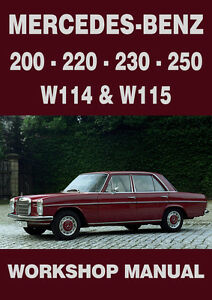 mercedes benz workshop manual w114 w115 1968 1972 ebay rh ebay co uk
