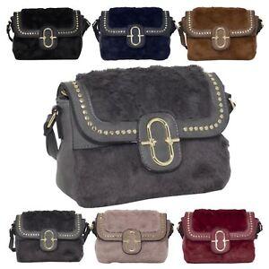 f76f0dfdf0 New Faux Fur Leather Studs Detail Women s Fashion Crossbody Shoulder ...
