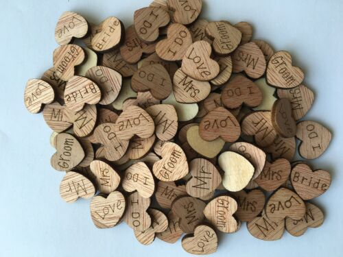 Wooden Love Hearts Wedding Scatter Cardmaking Craft Scrapbook Rustic Shabby Chic