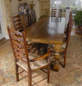 Image Is Loading Refectory Table Dining Set Ladderback Kitchen Chairs