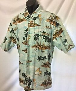 Timberland-Hawaiian-Shirt-Large-Mens-Aloha-Tropical-Floral-Palm-Trees-Hula-Luau