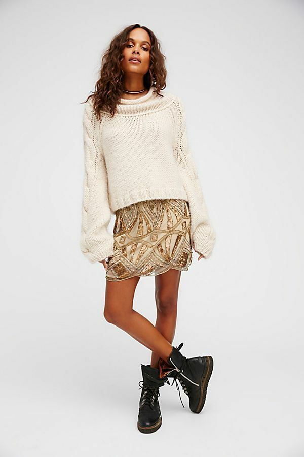 Free People Daydreaming Embellished Mini Skirt- 168 MSRP