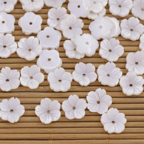 50PCS 10mm Mini Flower Shell Natural White Mother of Pearl Jewelry Making