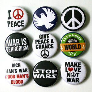 Peace-Anti-War-Badges-1-034-Buttons-Pins-x-9-Size-25mm-Badge-Pinbacks