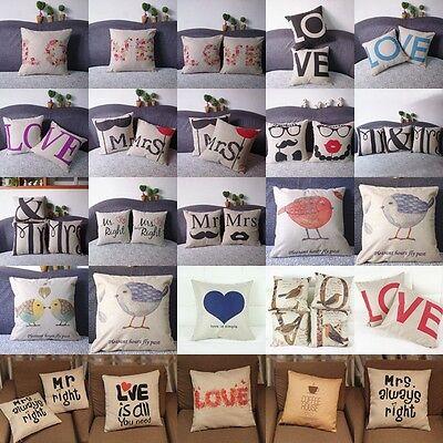 Vintage Cotton Linen Throw Pillow Cover Pillowcase Sofa Cushion Cover Home Decor