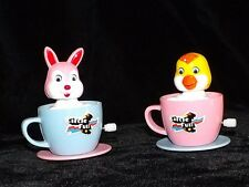 4 CLASSIC WKW EASTER BUNNY & CHICK PLASTIC WIND-UPS TOYS BRANDNEW MINT NEVR USED