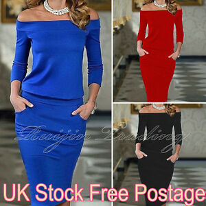 UK-Womens-Bodycon-Off-Shoulder-Dress-Ladies-Party-Evening-Midi-Dress-Size-6-14