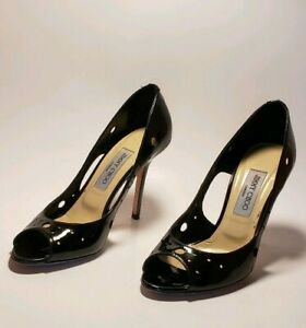 Jimmy Choo Black Patent Leather Cut out