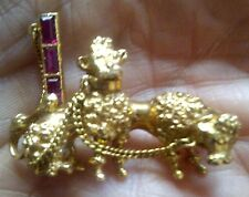 ANTIQUE VICTORIAN 18CT GOLD POODLE,PUDEL,CANiCHE DOG BROOCH WITH RUBIES