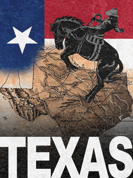 Todd Williams  Texas Keilrahmen-Bild Leinwand Cowboy USA Amerika Collage