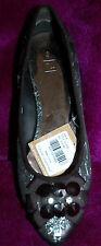 New sz 3 Party Flat Ballerina Shoes Diamante Ribbon Bead Toe Detail trim gift