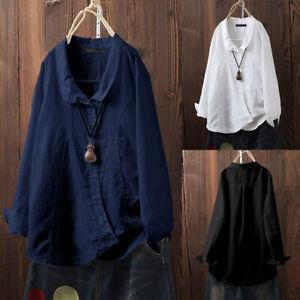 Mode-Femme-Chemise-Loose-Manche-Longue-Coton-Boutons-Loisir-Haut-Shirt-Plus