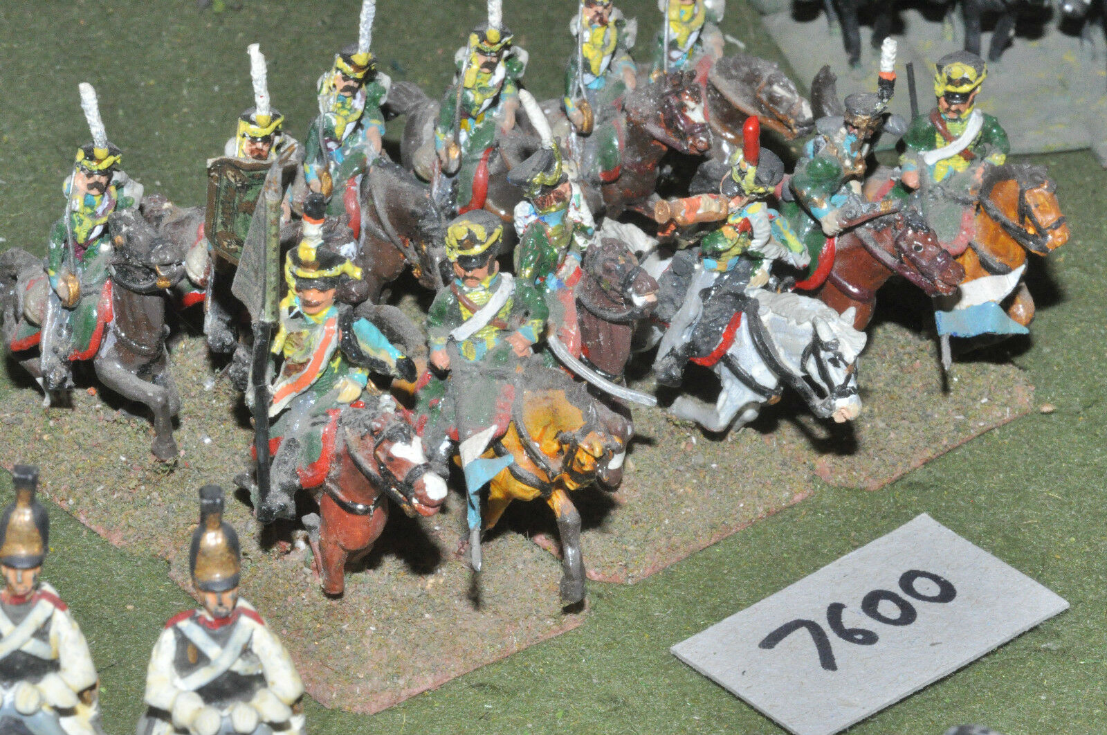 25mm napoleonic   russian - hussars 12 cavalry painted metal - cav (7600)