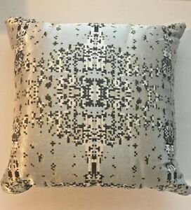 18 Silver Metallic Throw Pillow With Gray White And Gold Nwot Ebay
