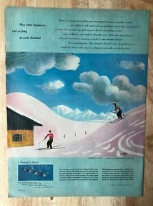 Original-Print-Ad-1951-DE-BEERS-Diamond-Honeymoon-in-the-Snow-Jean-Hugo