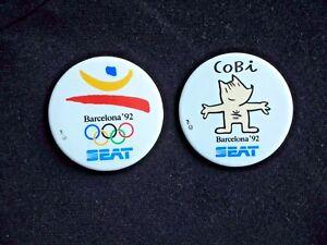 BARCELONA-OLYMPICS-memorabilia-Pair-of-BADGES-cobi-1992